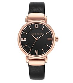 Anne Klein® Rose Goldtone and Black Leather Strap Watch