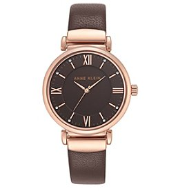 Anne Klein® Rose Goldtone and Brown Leather Strap Watch