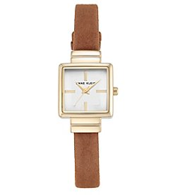 Anne Klein®Goldtone and Rust Suede Leather Strap Watch