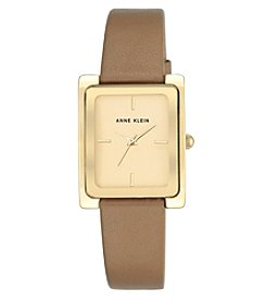 Anne Klein® Goldtone and Dark Tan Strap Watch