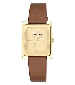 Anne Klein® Goldtone and Honey Strap Watch