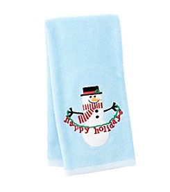 LivingQuarters Happy Snowman Embossed Hand Towel