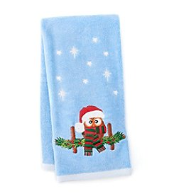 LivingQuarters Owl Embossed Hand Towel