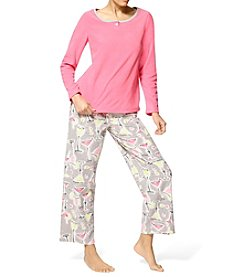 HUE® Three Piece Microfleece Pajama Set