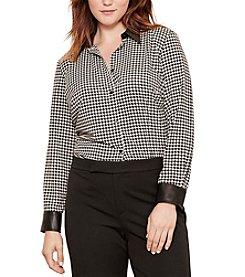 Lauren Ralph Lauren® Plus Size Houndstooth-Print Crepe Shirt