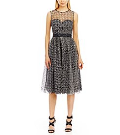 Nicole Miller New York™ Lace Overlay Fit And Flare Dress