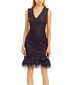 Nicole Miller New York® Lace Feather Trim Dress