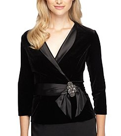 Alex Evenings 3/4 Sleeve Satin Tie Blouse