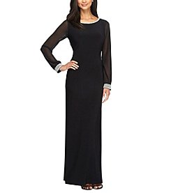 Alex Evenings® Sheer Long Sleeve Gown