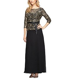 Alex Evenings® Two Piece Lace Top With Chiffon Skirt