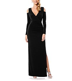 Laundry by Shelli Segal® V-Neck Side Shirred Cold Shoulder Gown