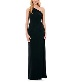 Laundry by Shelli Segal® One Shoulder Side Shirred Beaded Gown