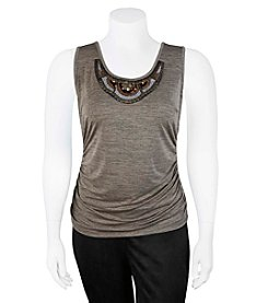 A. Byer Plus Size Tank With Beaded Neckline