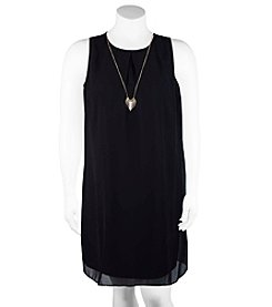 A. Byer Chiffon Layered Trapeze Dress With Necklace
