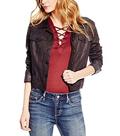 Jessica Simpson Pixie Coated Faux Suede Jacket