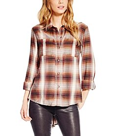Jessica Simpson Dion Plaid Roll Sleeve Shirttail Top