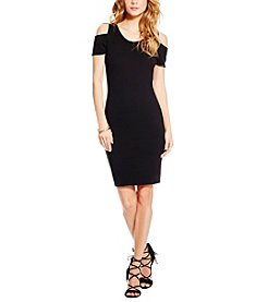 Jessica Simpson Mara Cold Shoulder Knit Jacquard Dress