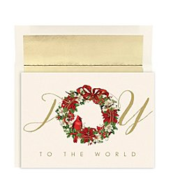 Masterpiece Cardinal Wreath Boxed Holiday Cards