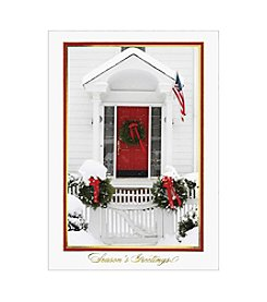 Masterpiece Wreath On Red Door White House Boxed Holiday Cards