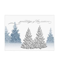 Masterpiece Silver Foil Pressed Trees Boxed Holiday Cards