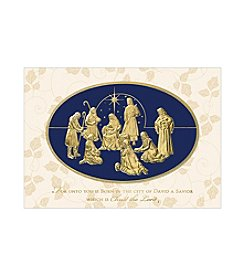 Masterpiece Gold Nativity Leaf Design Boxed Holiday Cards