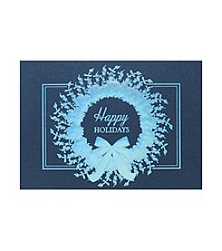 Masterpiece Blue Foil Wreath Boxed Holiday Cards