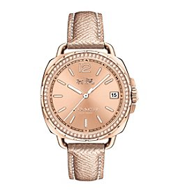 COACH WOMEN'S TATUM 34mm ROSE GOLD TONE SUNRAY DIAL LEATHER STRAP WATCH