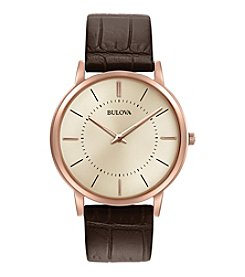 Bulova® Men's Leather Strap Watch