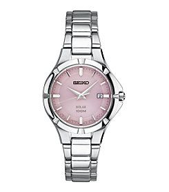 Seiko® Women's Solar Silver Tone With Pink Dial