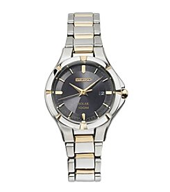 Seiko® Women's Solar Two Tone With Black Dial