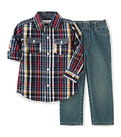 Kids Headquarters® Boys' 4-7 2-Piece Plaid Shirt And Jeans Set
