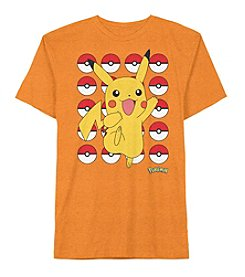 Pokemon® Boys' 4-20 Short Sleeve Pikachu Pokeballs Tee