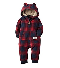 Carter's® Baby Boys' Hooded Plaid Jumpsuit