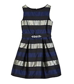 Amy Byer Girls' 7-16 Striped Fit And Flare Dress