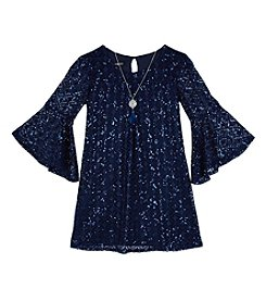 Amy Byer Girls' 7-16 Sparkle Lace Shift Dress