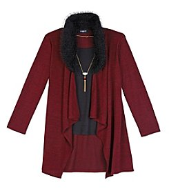 Amy Byer Girls' 7-16 Layered Cozy With Necklace