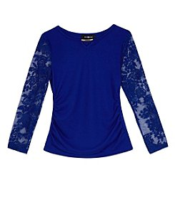 Amy Byer Girls' 7-16 Lace Sleeve Top