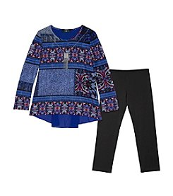 Amy Byer Girls' 7-16 Long Sleeve Patterned Top With Necklace