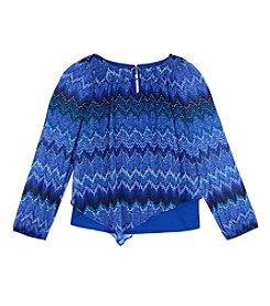 Amy Byer Girls' 7-16 Long Sleeve Chevron Top