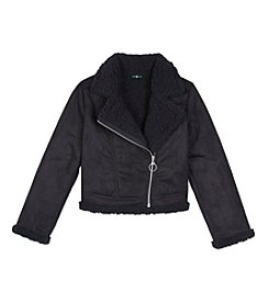 Amy Byer Girls' 7-16 Faux Sherpa Moto Jacket
