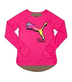 PUMA® Girls' 7-16 Long Sleeve Big Cat Tee