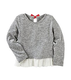 OshKosh B'Gosh® Girls' 2T-6X Long Sleeve Eyelet Hem Sweater