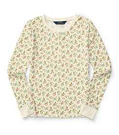 Polo Ralph Lauren® Girls' 7-16 Long Sleeve Floral Waffle Henley