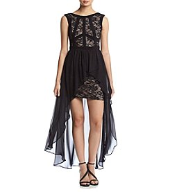 Morgan & Co.® Black Lace High-Low Dress