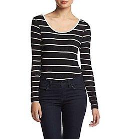 Eyeshadow® Long Sleeve Ballet Back Striped Bodysuit