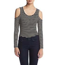 Eyeshadow® Long Sleeve Stripe Cold Shoulder Bodysuit