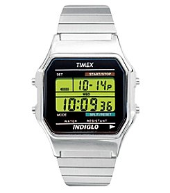 Timex® Men's Classic Digital Silvertone Extra-Long Expansion Band Watch