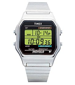 Timex® Men's Classic Digital Silvertone Expansion Band Watch