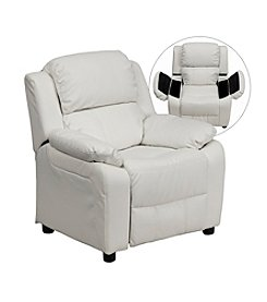 Flash Furniture Deluxe Contemporary Vinyl Kids Recliner with Storage Arms