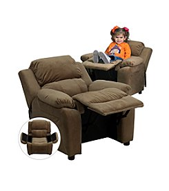 Flash Furniture Deluxe Contemporary Microfiber Kids Recliner with Storage Arms